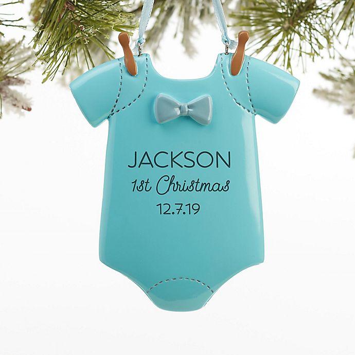 Alternate image 1 for Baby Boy Bodysuit Christmas Ornament