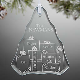 Presents Under The Tree Engraved Christmas Ornament