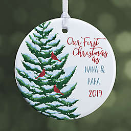 1-Sided Glossy Grandparent's 1st Christmas Personalized Ornament-Small