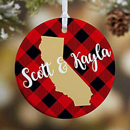 1-Sided Glossy State Pride Buffalo Check Personalized Ornament-Sm