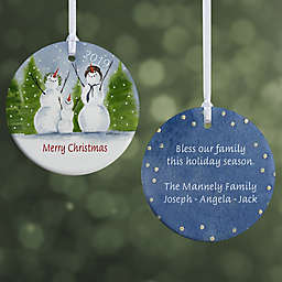 Snow Family 2-Sided Glossy Christmas Ornament