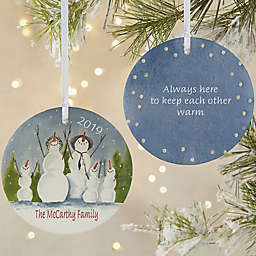 Snow Family 2-Sided Matte Christmas Ornament