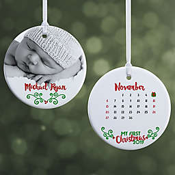 Baby's 1st Christmas Calendar 2-Sided Glossy Christmas Ornament