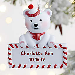 Baby Polar Bear Personalized Christmas Ornament