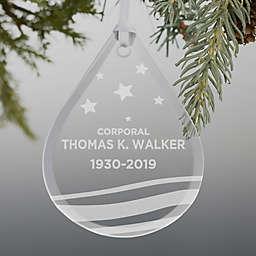 Military Memorial Engraved Teardrop Christmas Ornament
