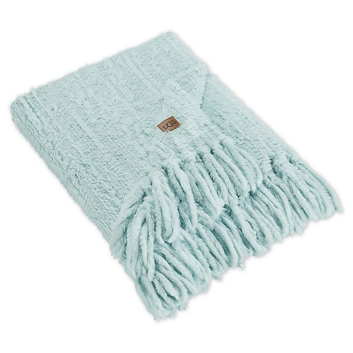 Alternate image 1 for UGG® Lexi Faux Fur Throw Blanket in Blue Crush