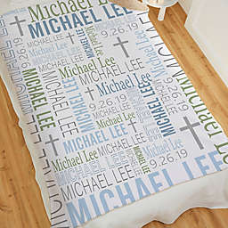 Christening Day For Him Personalized Sherpa Blanket Collection