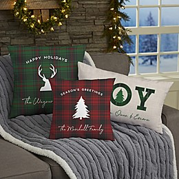 Christmas Plaid Personalized Plaid Throw Pillow Collection