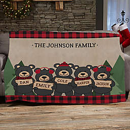 Holiday Bear Family Personalized 50-Inch x 60-Inch Fleece Blanket