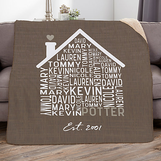 Alternate image 1 for Family Home Personalized Sherpa Blanket Collection