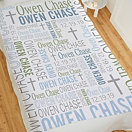 Christening Day For Him Personalized Fleece Blanket Collection