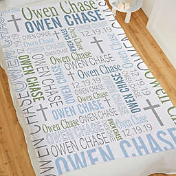 Christening Day For Him Personalized 50-Inch x 60-Inch Fleece Blanket