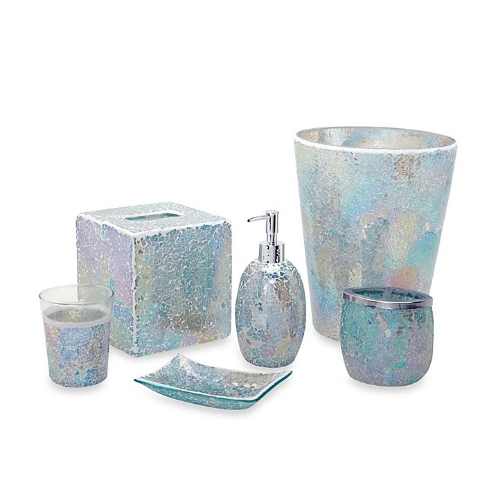 India Ink Aurora Pastel Cracked Glass Bath Accessory ...