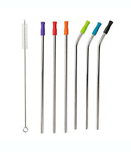 Manna™ Set de popotes de acero inoxidable con puntas de silicón y cepillo, 7 piezas
