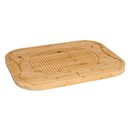 Lipper International 20-Inch x 15-Inch Bamboo Wood Carving Board with Grip Grid