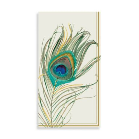 Peacock Feather Paper Guest Towels Set Of 16 Bed Bath