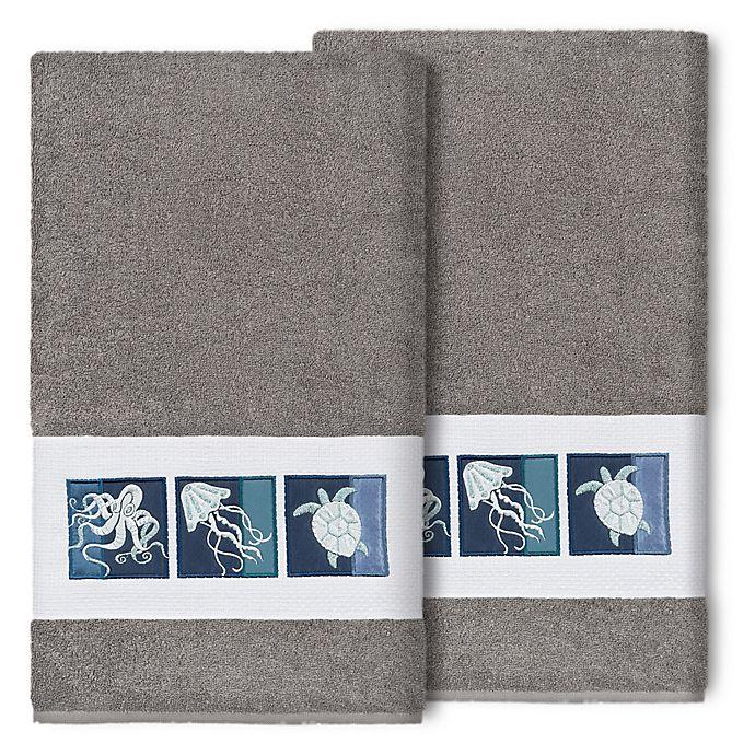 Alternate image 1 for Linum Home Textiles Ava Bath Towels in Dark Grey (Set of 2)
