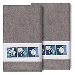 Linum Home Textiles Ava Bath Towels in Dark Grey (Set of 2)