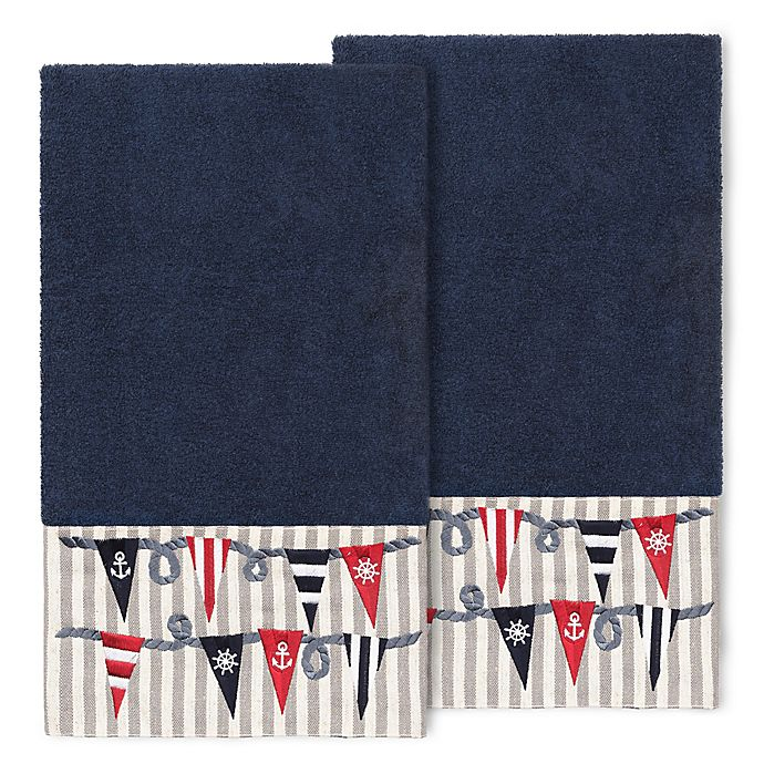 Alternate image 1 for Linum Home Textiles Ethan Bath Towels in Midnight Blue (Set of 2)