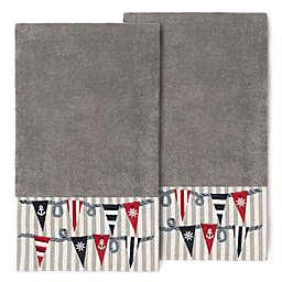 Linum Home Textiles Ethan Bath Towels in Dark Grey (Set of 2)