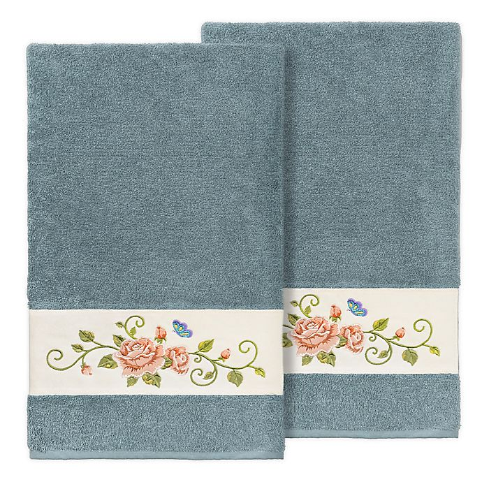 Alternate image 1 for Linum Home Textiles Rebecca Bath Towels in Teal (Set of 2)