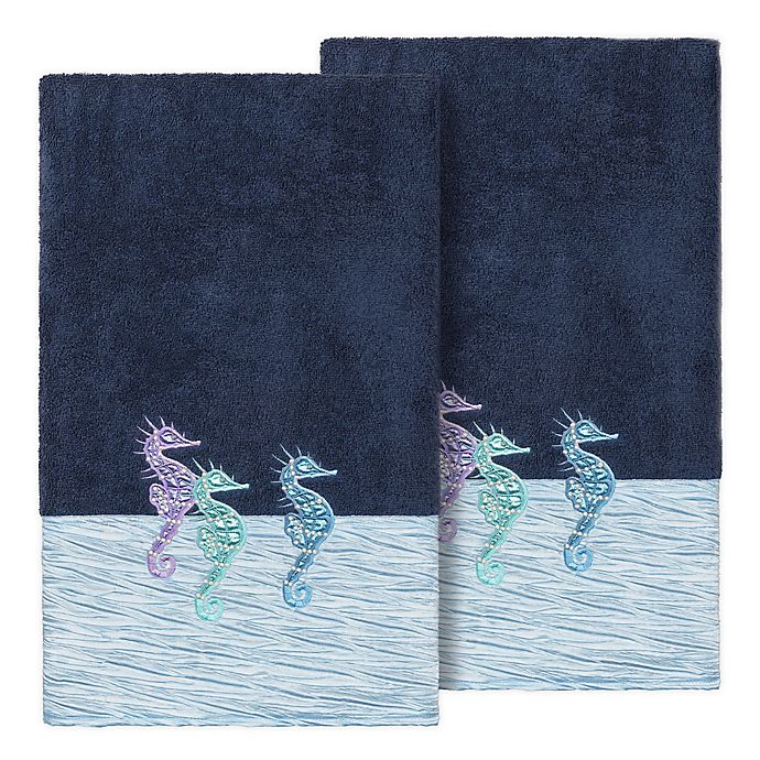 Alternate image 1 for Linum Home Textiles Sofia Bath Towels in Midnight Blue (Set of 2)