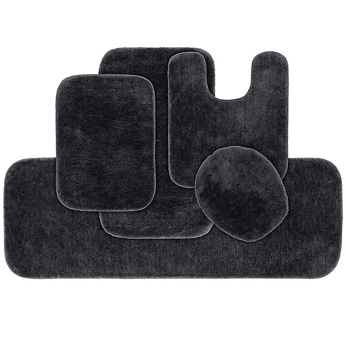 Alternate image 1 for Garland 5-Piece Traditional Bath Rug Set in Dark Grey