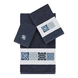 Linum Home Textiles 3-Piece Vivian Bath Towel Set in Midnight Blue