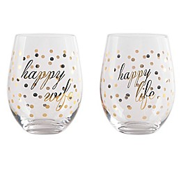 """Home Essentials & Beyond """"Happy Wife Happy Life"""" Wine Glasses (Set of 2)"""