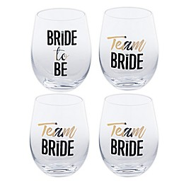 Home Essentials & Beyond Team Bride Stemless Wine Glasses (Set Of 4)