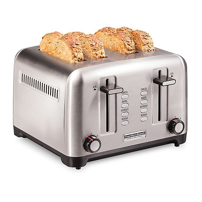 Alternate image 1 for Hamilton Beach® Professional Stainless Steel 4-Slice Toaster