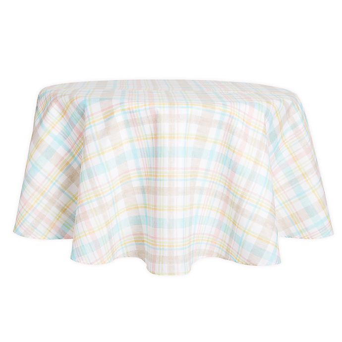 Alternate image 1 for Spring Medley Plaid 70-Inch Round Tablecloth
