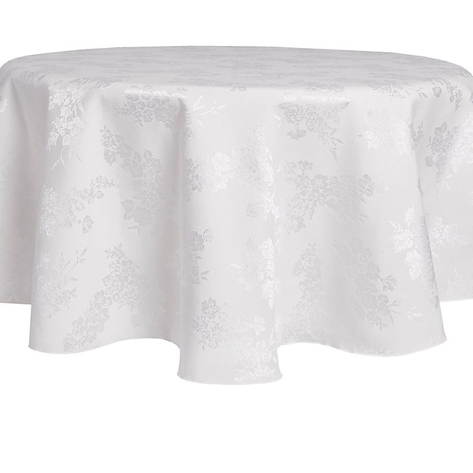 Alternate image 1 for Spring Medley Damask 70-Inch Round Tablecloth in White
