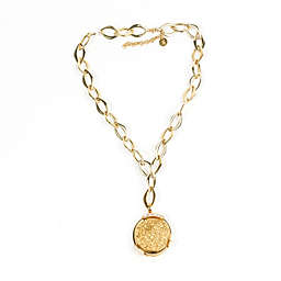 ChristineDarren 22K Gold Plated Round Bold Drusy Pendant with Necklace