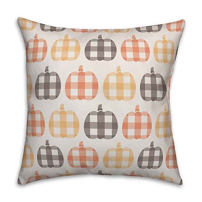 Alternate image 1 for Designs Direct Plaid Pumpkin Pattern Throw Pillow in Orange