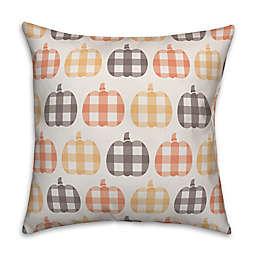 Designs Direct Plaid Pumpkin Pattern Throw Pillow in Orange