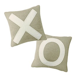 XO Square Throw Pillows in Natural (Set of 2)