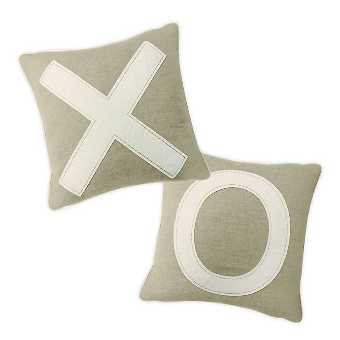 Alternate image 1 for XO Square Throw Pillows in Natural (Set of 2)