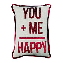 """You + Me = Happy"" Oblong Throw Pillow in Ivory"
