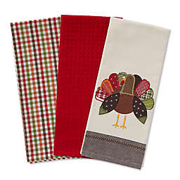 Fall Turkey Embroidered Kitchen Towels (Set of 3)