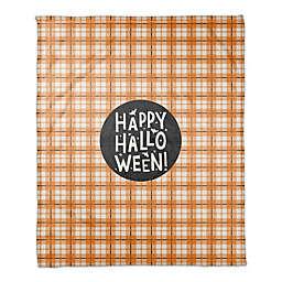 Happy Halloween Plaid 50x60 Throw in ORANGE