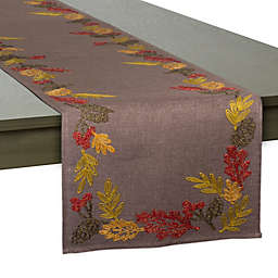 Embroidered Shimmering Leaves 70-Inch Table Runner
