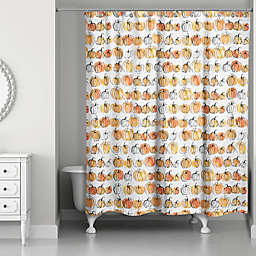 Watercolor Pumpkins 71x74 Shower Curtain