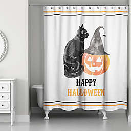 Cat and Pumpkin 71x74 Shower Curtain