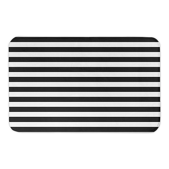 Alternate image 1 for BLACK AND WHITE STRIPES 34X21BATH MAT