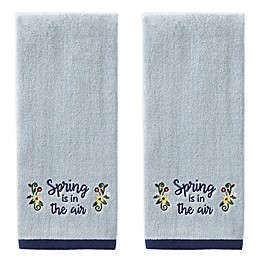 Spring is in the Air Hand Towels in Blue (Set of 2)