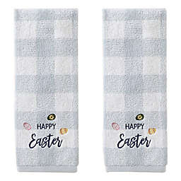 Happy Easter Eggs Hand Towels in Blue (Set of 2)
