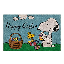 Peanuts® Easter 28-Inch x 18-Inch Coir Doormat in Light Blue