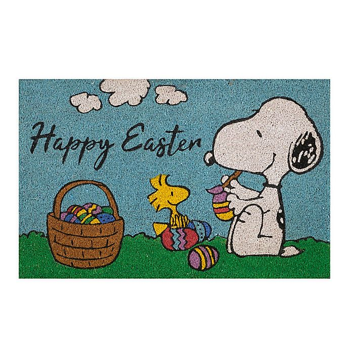 Alternate image 1 for Peanuts® Easter 28-Inch x 18-Inch Coir Doormat in Light Blue