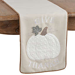 Saro Lifestyle Calabaza Give Thanks Pumpkin 72-Inch Table Runner in Natural